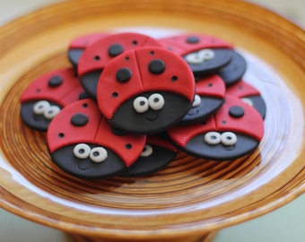 Ladybug Fondant Toppers - Perfect for Cupcakes, Cookies and Other Edible Creations