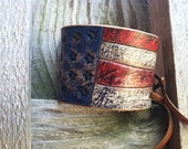 Leather Bracelet / Rustic Cuff / Adjustable / VOTE / Leather Cuff / Bracelet / Wristband