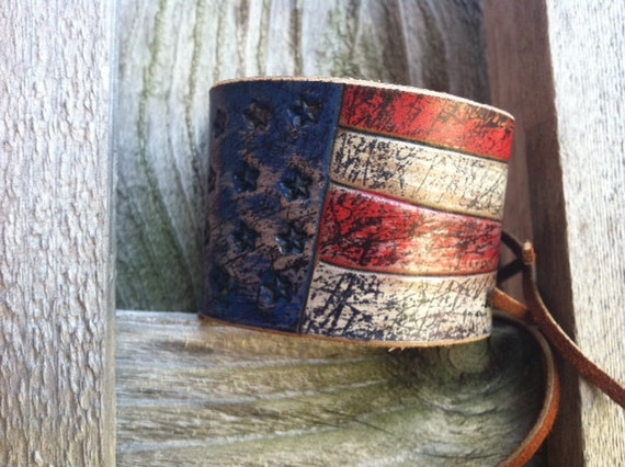 Leather Bracelet / Rustic Cuff / Adjustable / VOTE / Leather Cuff / Bracelet / Wristband
