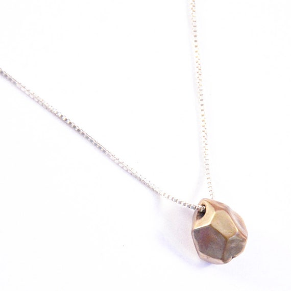 faceted necklace - oxidized bronze