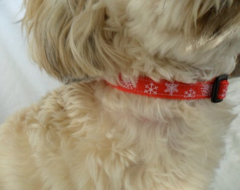 Snowflake Cat Collar, Dog Collar - Size Medium or Small, Red Holiday Snowflake Adjustable