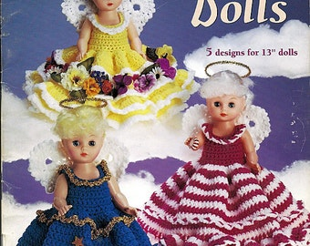 Crochet Doll Pattern - Angel Dolls 5 Designs for 13 inch dolls - American school of Needlework 1215