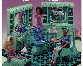 Fashion Doll Beauty Salon in Plastic Canvas for Barbie American School of Needlework 3104