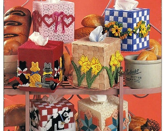 A Baker's Dozen Tissue Box Covers Plastic Canvas Pattern Book American School Of Needlework 3139