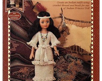 Indian Princess III Crochet Indian Doll Pattern Fibre Craft  FCM442
