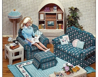 Fashion Doll Living Room In Plastic Canvas For Barbie American School Of  Needlework 3085 Part 35