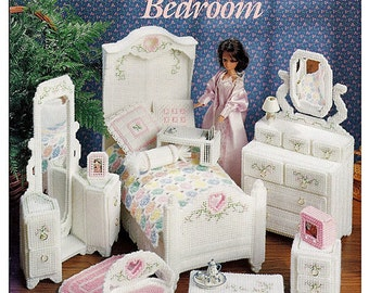 Fashion Doll Hearts N Flowers Bedroom Plastic Canvas Pattern Book ASN 3140