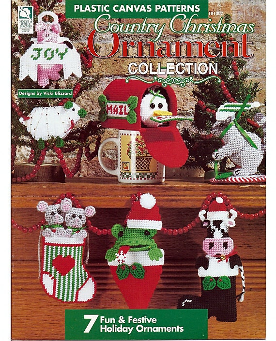 Country Christmas Ornament Collection Plastic Canvas Pattern Book House of White Birches181007