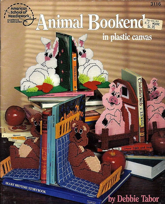 Animal Bookends in Plastic Canvas Pattern Book 3116 American School of Needlework