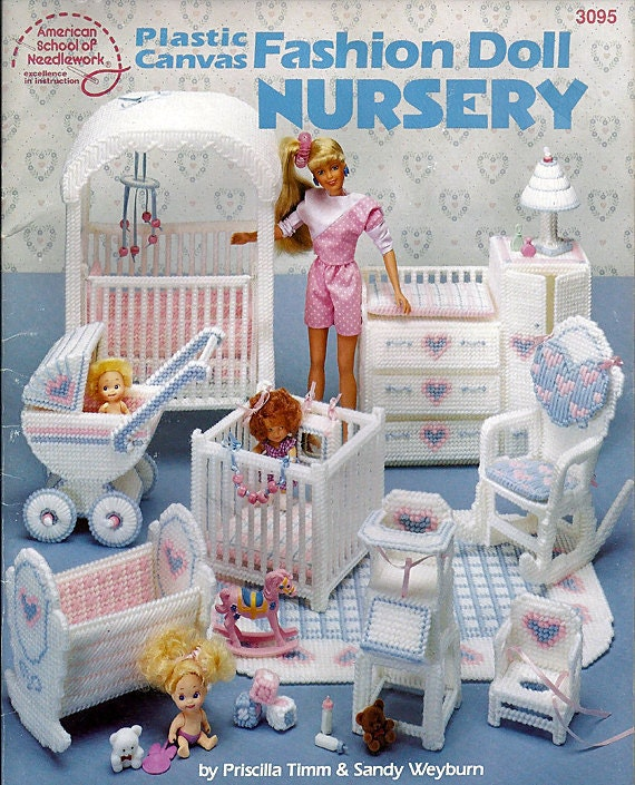 Barbie Plastic Canvas Furniture Fashion Doll Nursery American School ...