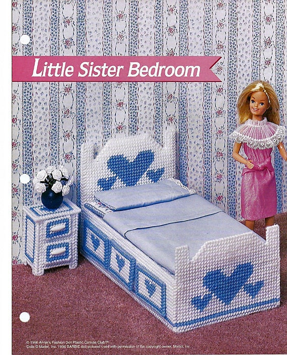 Little Sister Bedroom Barbie Furniture Plastic Canvas Pattern