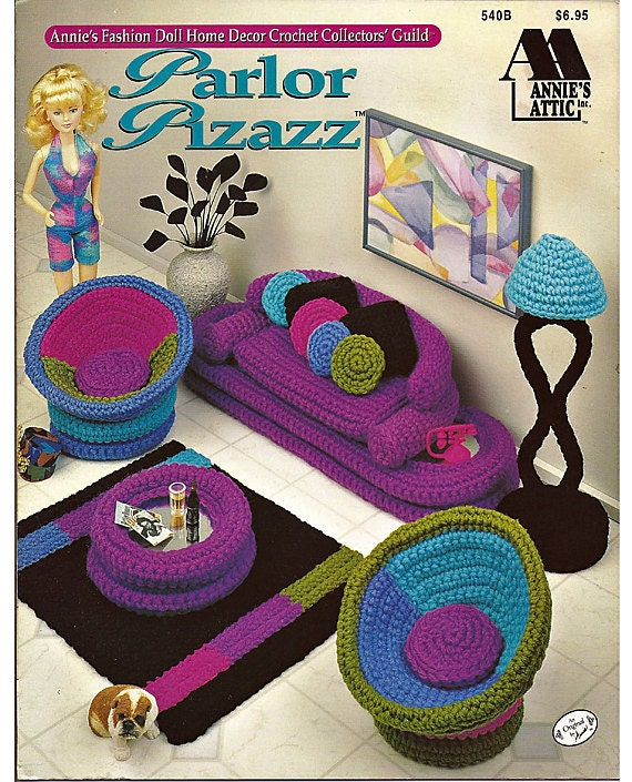 Parlor Pizazz     Crocheted Living room set for Barbie   Annie's Attic 540B