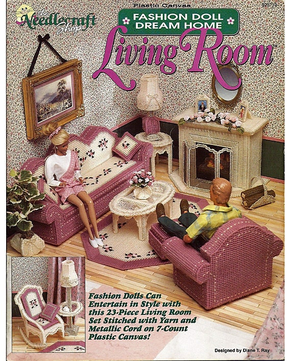 Fashion Doll Dream Home Living Room Plastic Canvas Pattern The
