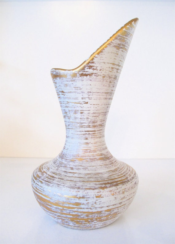 1960 S Royal Haeger 22k Gold Tweed Asymmetrical Vase
