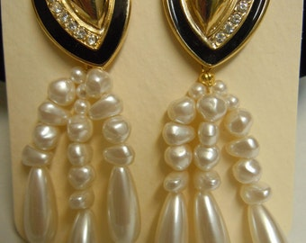 Black Epoxy and Crystal Dangle Pearl Earrings
