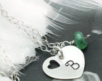 Silver Heart & Birthstone Necklace, Custom Stone, Emerald Necklace, Single Letter Charm, Everyday Jewelry , Bridal Gifts