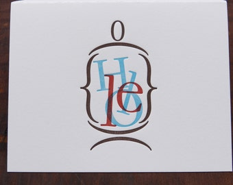 "Individual Letterpress Greeting Card - Hello ""in a jar"""