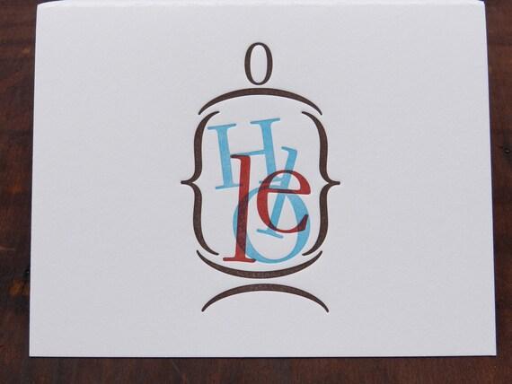 "Individual Letterpress Greeting Card - Hello ""in a jar"""