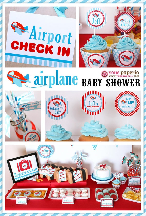 Airplane Baby Shower Package Personalized FULL by venspaperie