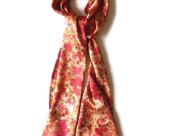 Red and gold hand painted Floral silk scarf. Luxury Ladies gift. Vibrant. Ladies Cocktail. Statement scarf. Sumptuous. Grandmother. Ditsy