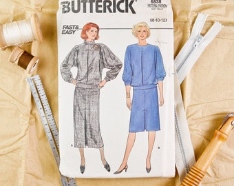 Misses Size 8, 10, 12, Front Pleated lower band, Top & Straight Skirt w/ front pleat, 1980's Butterick  (6838) Vintage Sewing Pattern