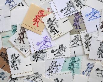 Mr. Zip - 25 pieces of vintage 'zippy' postage ephemera for scrapbooking, crafts, collage, etc