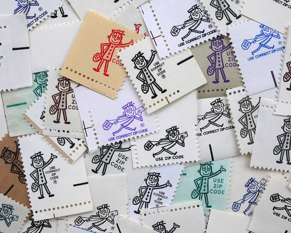 Mr. Zip - 30 pieces of vintage 'zippy' postage ephemera for scrapbooking, crafts, collage, etc