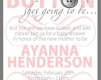 Cute as a Button PRINTABLE Baby Shower Invitation
