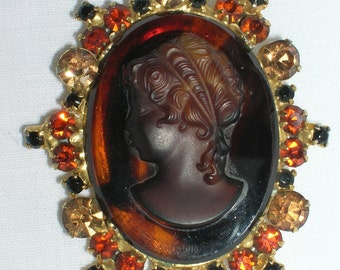 Vintage 1960's Juliana Cameo Rhinestone Brooch Bookpiece Fall Colors Costume Jewelry Orange Black Brown Topaz