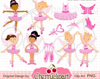 Little Cute Fairy Ballerina Digital Clipart Set for-Personal and Commercial Use-paper crafts,card making,scrapbooking,and web design