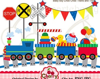 Baby Boy Choo Choo Trains and Toys Didital Clipart Set for-Personal and Commercial Use-Card Design, Scrapbooking, and Web Design