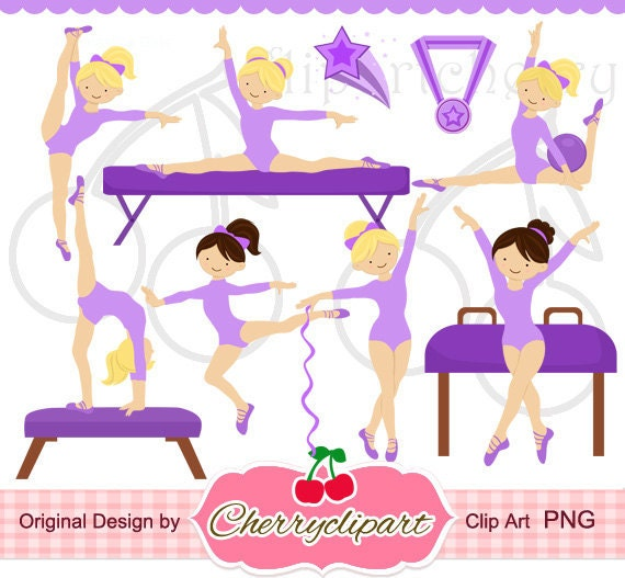 Kids Tumbling Clipart Purple gymnastics girls