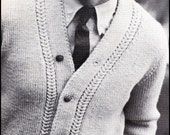 "No.93 PDF Vintage Knitting Pattern Men's Mock Gull Stitch Cardigan Sweater - Retro Knitting Pattern - Instant Download - 36"" through 44"""