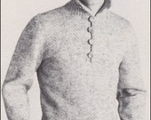 """No.189 PDF Vintage Knitting Pattern Men's Rugged Pullover Sweater - Classic Design Convertible Collar - Instant Download - Chest 38"""" - 44"""""""