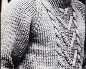 """No.143 Knitting Pattern PDF Vintage Men's Bulky Cabled Pullover Sweater - Classic Aran Design - Instant Download - Chest Sizes 37"""", 41"""", 45"""""""