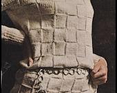 """No.215 PDF Vintage Knitting Pattern For Women - Basket-Weave Turtleneck Dress - Instant Download - Bust Sizes 32.5"""", 34"""", 36"""", 38"""""""