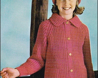 No.158 PDF Vintage Knitting Pattern Girl's Deep Ribbed Cardigan w/Collar & Pockets and Hat - Kid's 6, 8, 10, 12 Years - Instant Download