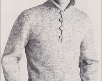 "No.189 PDF Vintage Knitting Pattern Men's Rugged Pullover Sweater - Classic Design Convertible Collar - Instant Download - Chest 38"" - 44"""
