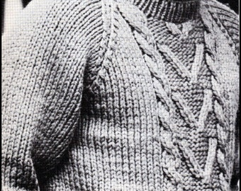 "No.143 Knitting Pattern PDF Vintage Men's Bulky Cabled Pullover Sweater - Classic Aran Design - Instant Download - Chest Sizes 37"", 41"", 45"""