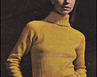 "No.216 PDF Vintage Knitting Pattern For Women - Turtleneck Raglan Dress - Instant Download - Bust Sizes 32.5"", 34"", 36"", 38"""