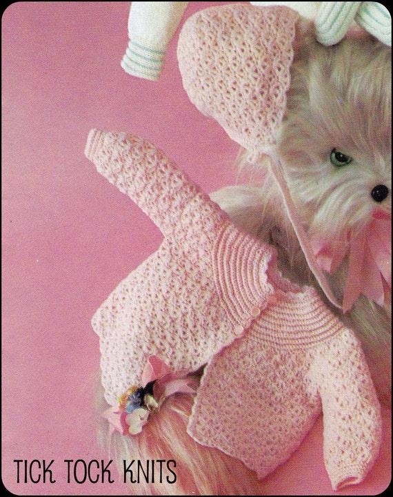 No.54 PDF Vintage Crochet Pattern Baby 5 Pc Crocheted Set - Sweater, Bonnets, Slipper Stitch Bootees Retro Crochet Pattern Instant Download