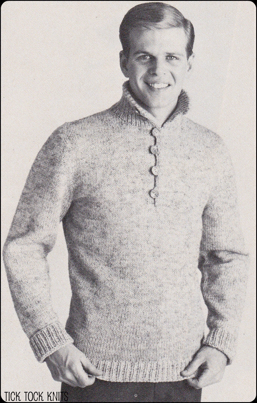 No 189 Pdf Vintage Knitting Pattern Men S Rugged Pullover
