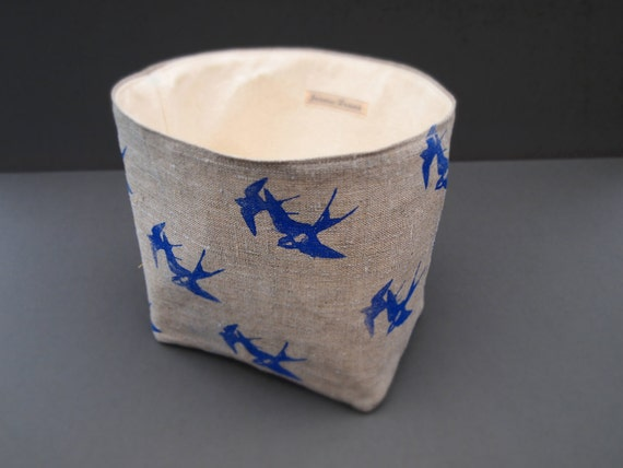 Hand printed swallows birds fabric basket for all sorts of nick-nacks to be stored in