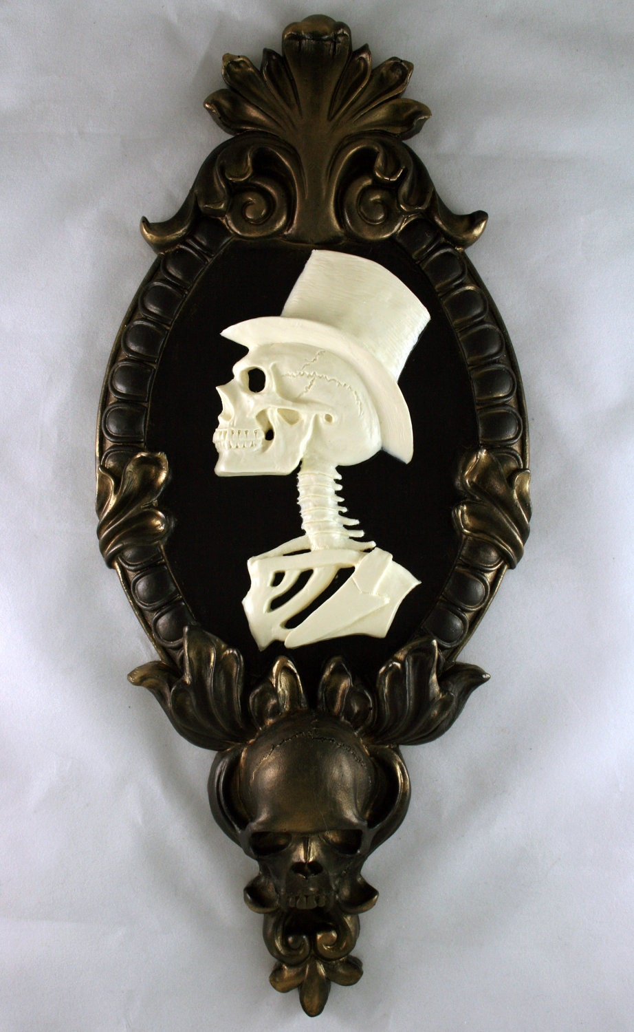 Gothic Victorian Gentleman Skeleton Cameo Bone White In Gold