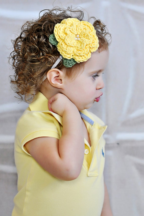 Girls Crochet Elastic Headband - Spring  Summer Accessories