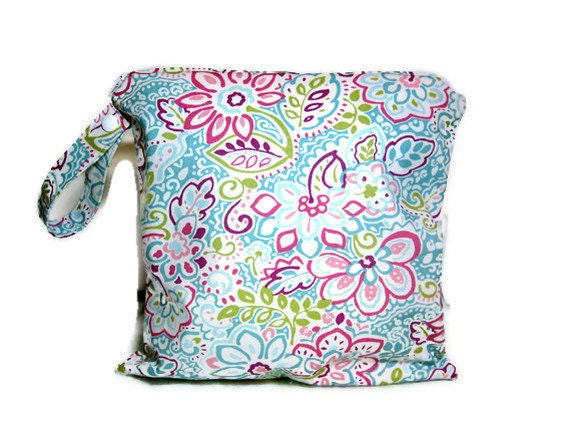 Aqua blue pink wet bag bathing suit swim beach pool summer waterproof cloth diaper bikini zipper medium