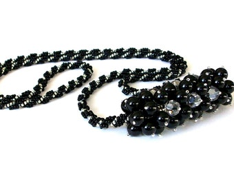 Necklace, Beaded Statement Swarovski Black Pearl, Silver Crystal, Pendant Necklace - 'Lucky Charm'