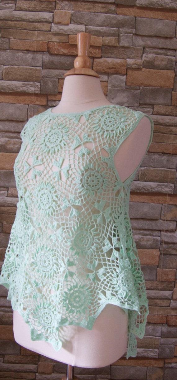 Crocheted summer cotton top/blouse