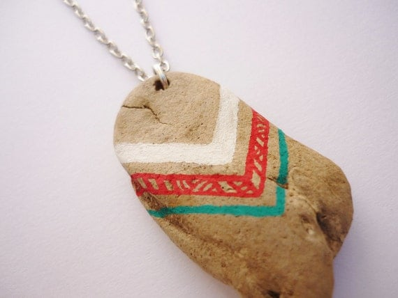 Driftwood Necklace, Chevron Patterns in White, Red and Teal