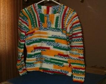 Crocheted Yipes Stripes Ribbed Yoke Sweater